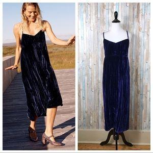 Madewell L Navy Crushed Velvet Slip Midi Dress